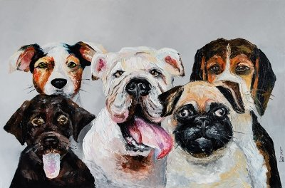Картина маслом «Собачья компания» купить живопись для современных интерьеров Украина