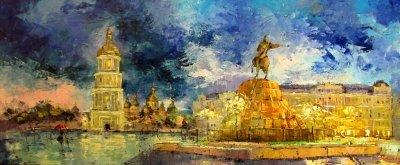 Картина маслом киевский пейзаж «Вечер. Софиевская площадь» - живопись для современных интерьеров Украина