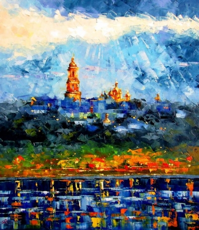 Картина маслом городской пейзаж «Солнечные лучи над Днепром» купить живопись для современных интерьеров Украина