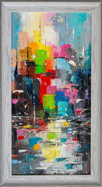 Картина живопись маслом абстракция «Солнечная улица» купить живопись для современных интерьеров Украина