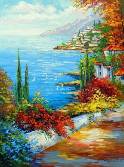 Картина маслом летний пейзаж «Солнечное побережье» купить живопись для современных интерьеров Украина