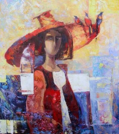 Картина маслом «Соловьи» купить живопись для современных интерьеров Украина
