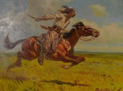 Картина маслом историческая тематика «Сотник» купить живопись для современных интерьеров Киев