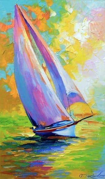 Картина маслом морской пейзаж «Свежий ветер» купить живопись для современных интерьеров Украина