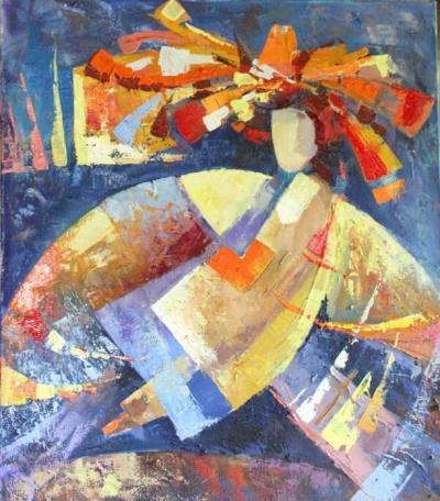 Картина маслом «Свет золотых мечтаний» купить живопись для современных интерьеров Украина