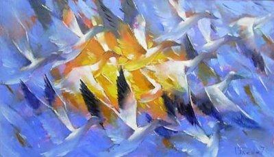 Картина цветы маслом птицы «Свобода» купить живопись для современных интерьеров Украина