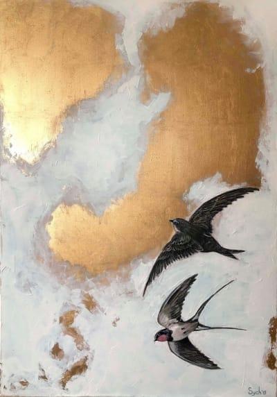 Картина маслом «Свободный полет» купить живопись для современных интерьеров Киев