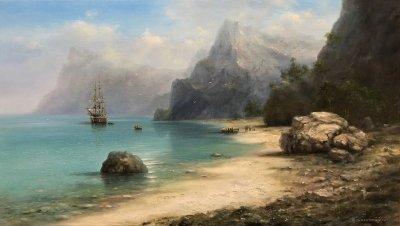Картина маслом морской пейзаж «Таинственный остров» купить современную живопись Украина
