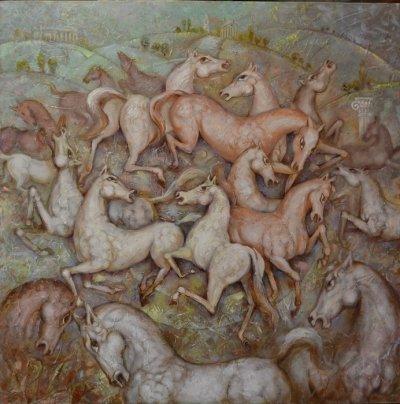 Картина маслом «Танец» купить живопись для современных интерьеров Украина