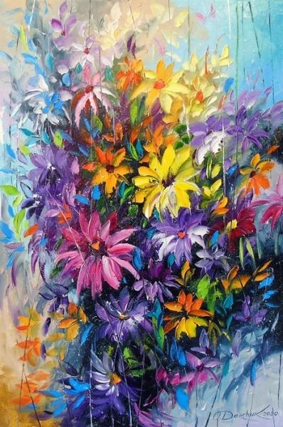 Картина с цветами «Танец ярких цветов» купить живопись для современных интерьеров Украина