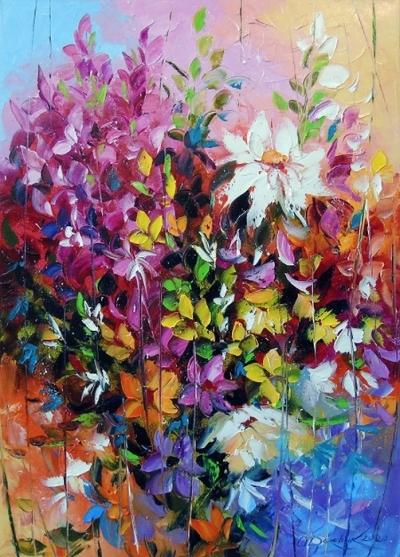 Картина с цветами «Танго цветов» купить живопись для современных интерьеров Украина