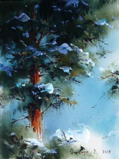 Картина маслом зимний пейзаж «Тайга 1» купить живопись для современных интерьеров Киев