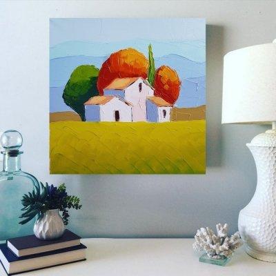 Картина маслом летний пейзаж «Тоскана. Утро» купить живопись для современных интерьеров Киев
