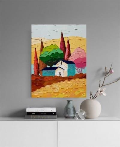 Картина маслом летний пейзаж «Утренняя Тоскана» купить живопись для современных интерьеров Украина