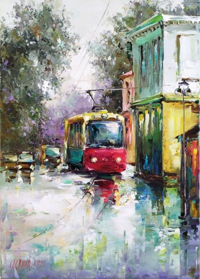 Картина маслом городской пейзаж «Трамвай» купить картины для современных интерьеров Украина