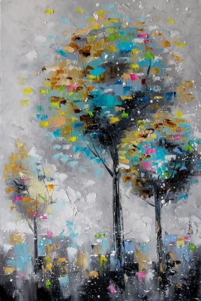 Картина маслом абстракция «Три дерева» купить живопись для современных интерьеров Киев