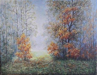 Картина маслом пейзаж «Туман» купить современную живопись Украина