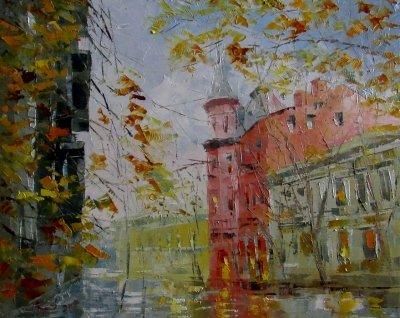 Картина маслом пейзаж «Туманный день» купить живопись для современных интерьеров Украина