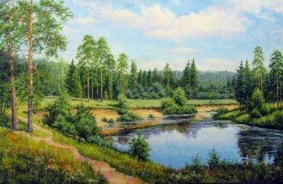 Картина маслом летний пейзаж «У излучины реки» купить современную живопись Украина