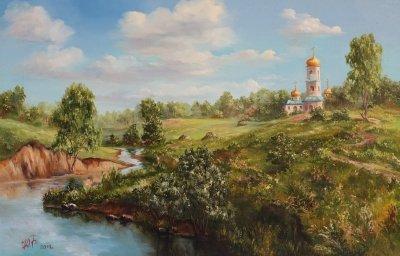 Картина маслом пейзаж «У реки» купить современную живопись Украина