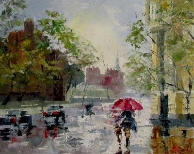 Картина маслом пейзаж «Улицами Киева» купить живопись для современных интерьеров Украина