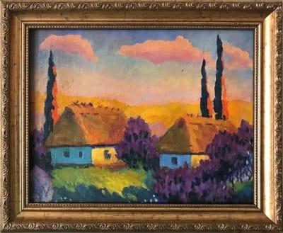 Картина «Украинское село» купить живопись для современных интерьеров Украина - пейзаж сельский