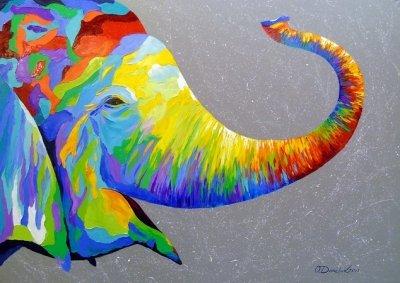 Картина анималистика «Улыбчивый слон» купить живопись для современных интерьеров Украина