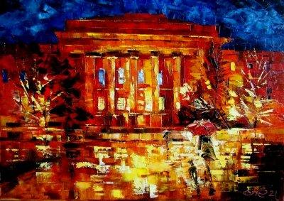 Картина маслом городской пейзаж «Университет» купить живопись для современных интерьеров Украина