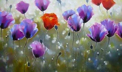 Картина маслом цветы «Утренняя свежесть» купить живопись для современных интерьеров Украина
