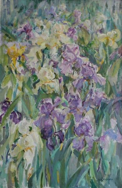 Картина маслом цветы «Утреннее впечатление. Ирисы» купить живопись для современных интерьеров Украина