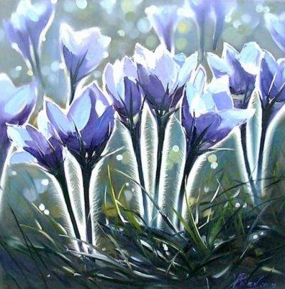 Картина маслом цветы «Утренний просвет» купить живопись для современных интерьеров Украина