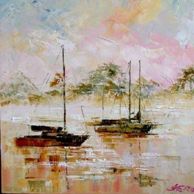 Картина маслом морской пейзаж «Утро» купить живопись для современных интерьеров Киев