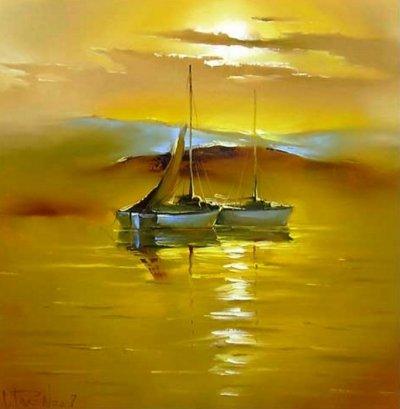 Картина маслом море «Утро» купить живопись для современных интерьеров Украина