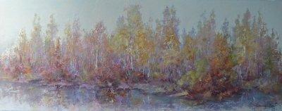Картина осенний пейзаж «Утро» купить живопись для современных интерьеров Украина