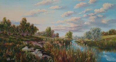 Картина маслом сельский пейзаж «Утро над рекой» купить современную живопись Украина