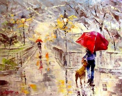 Картина «В парке под дождиком»