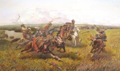 Картина маслом исторический пейзаж «В степи» купить живопись для современных интерьеров Киев