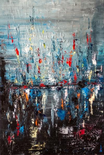 Картина маслом абстракция «Вечер» купить живопись для современных интерьеров Украина