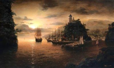 Картина маслом морской пейзаж «Вечерний берег» купить современную живопись Украина