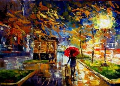 Картина маслом городской пейзаж «Вечерний город» - живопись для современных интерьеров Украина