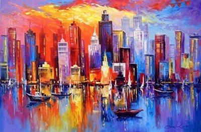 Картина маслом абстрактный  пейзаж «Вечерний Нью-Йорк» купить живопись для современных интерьеров Украина