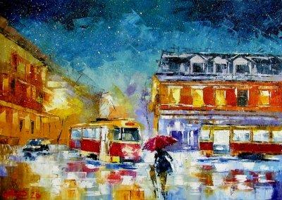 Картина маслом городской пейзаж «Вечерний Подол» купить живопись для современных интерьеров Украина