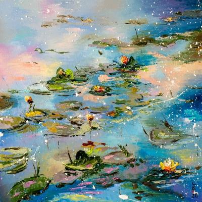 Картина маслом природа «Вечерний пруд» купить живопись для современных интерьеров Украина