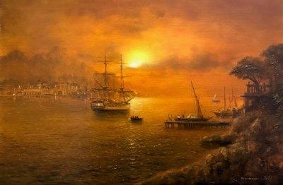 Картина маслом морской пейзаж «Вечерняя бухта» купить современную живопись Украина