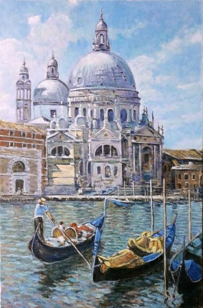 Картина маслом пейзаж «Венеция. Базилика» купить современную живопись Украина