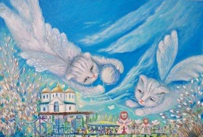Картина маслом «Вербные котики» купить живопись для современных интерьеров Украина