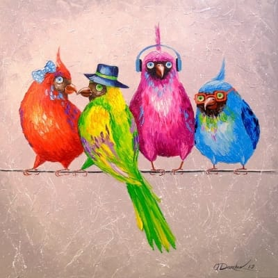 Картина маслом «Веселая компания» - живопись для современных интерьеров Украина