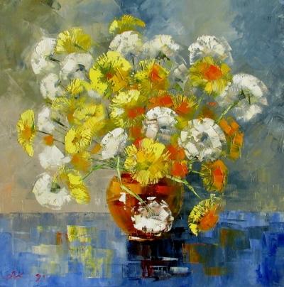 Картина маслом цветы «Весенний букет» купить живопись для современных интерьеров Украина