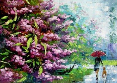 Картина маслом весенний пейзаж «Весенняя прогулка» купить живопись для современных интерьеров Украина