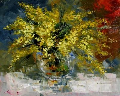 Картина маслом цветы «Весна. Мимозы» купить живопись для современных интерьеров Украина